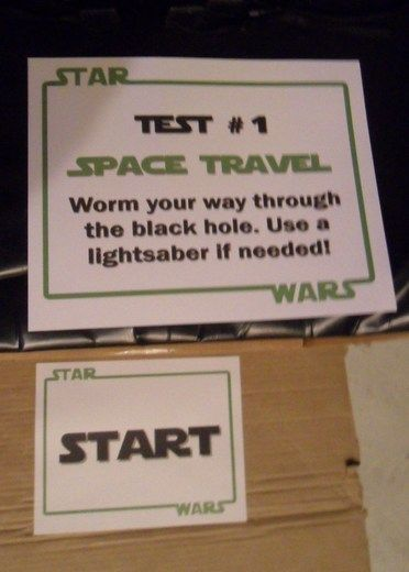 Star Wars Party - Jedi Training --- space travel (worm hole/maze) - balance - control (riding toys) - agility - force