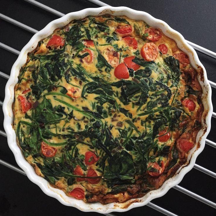 RECEPT: Frittata met spinazie en tomaat