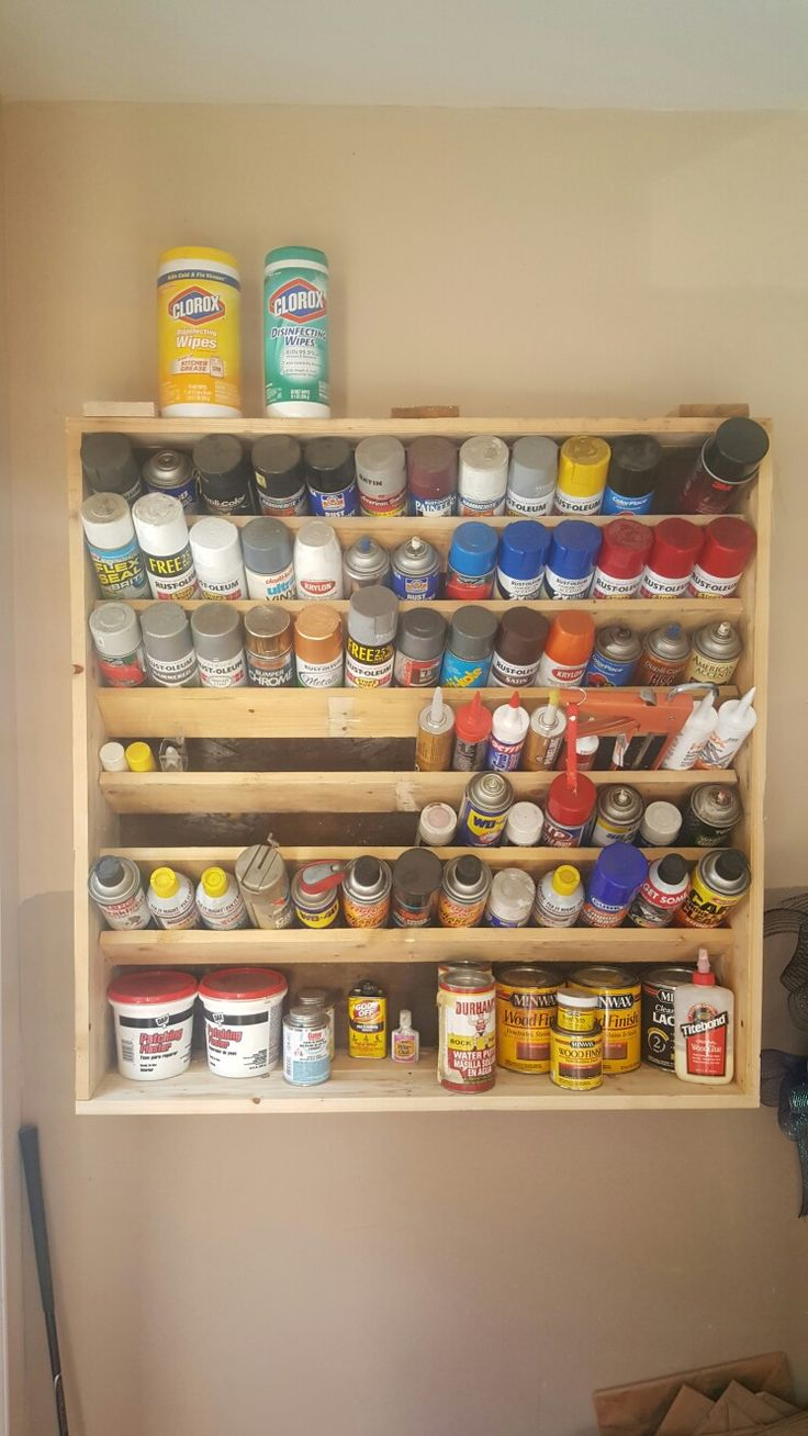 Spray paint can storage garage organization