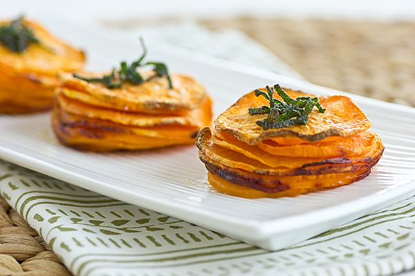 recipe | sweet potato stacks with crispy sage leaves