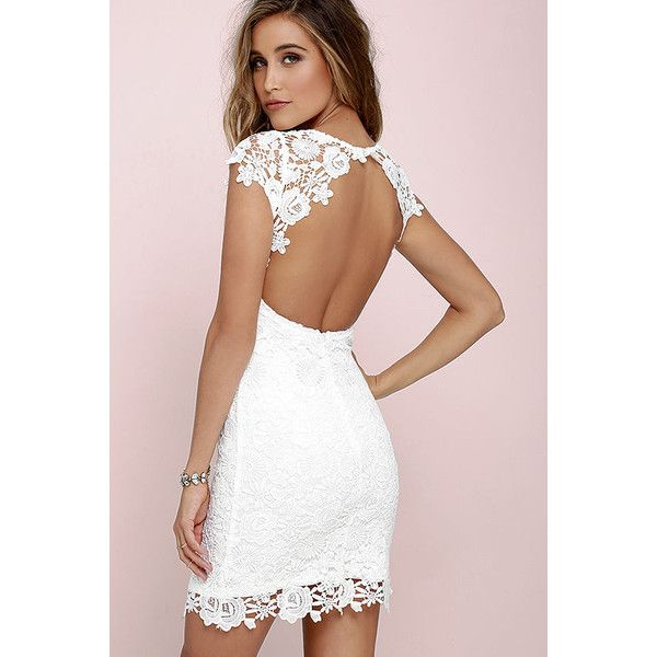 Hidden Talent Backless Ivory Lace Dress ($58) ❤ liked on Polyvore featuring dresses, white, see-through dresses, ivory lace dress, backless cocktail dress, white bodycon dress and white cocktail dresses