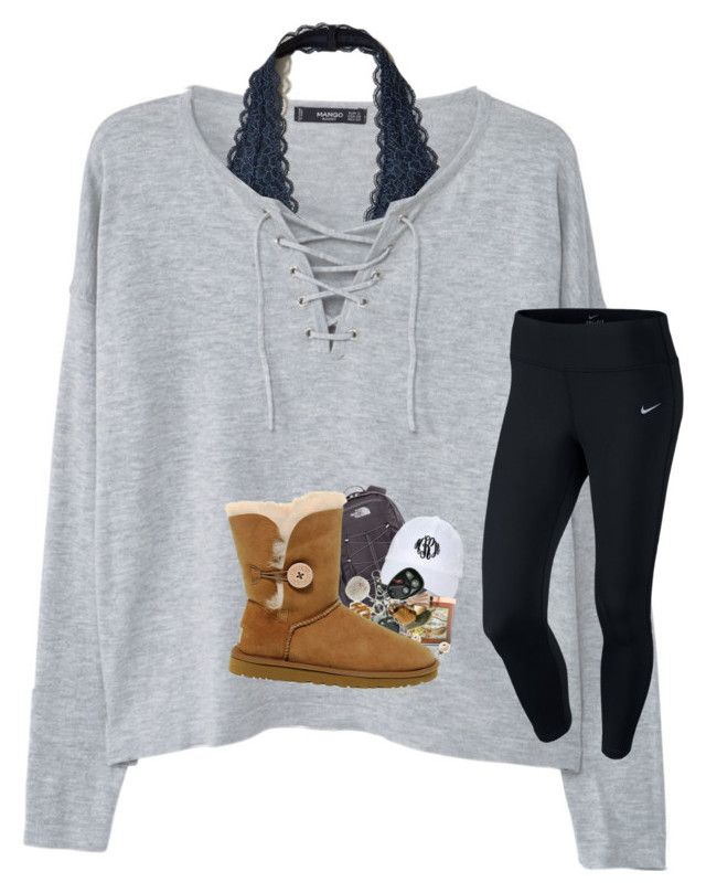 """""""pep rally tomorrow """" by prepstergab ❤ liked on Polyvore featuring MANGO, Hollister Co., NIKE, J.Crew, The North Face, Carolina Candle and UGG"""