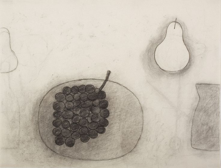 William Scott, Untitled [Plate, Grapes, Pear & Jug], Charcoal on paper, 50 x 65 cm / 19¾ x 25½ in, Private collection
