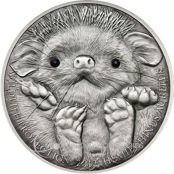 Mongolia 2012 500 togrog Long-eared Hedgehog - Hemiechinus auritus UNC Silver Coin :: Top World Coins
