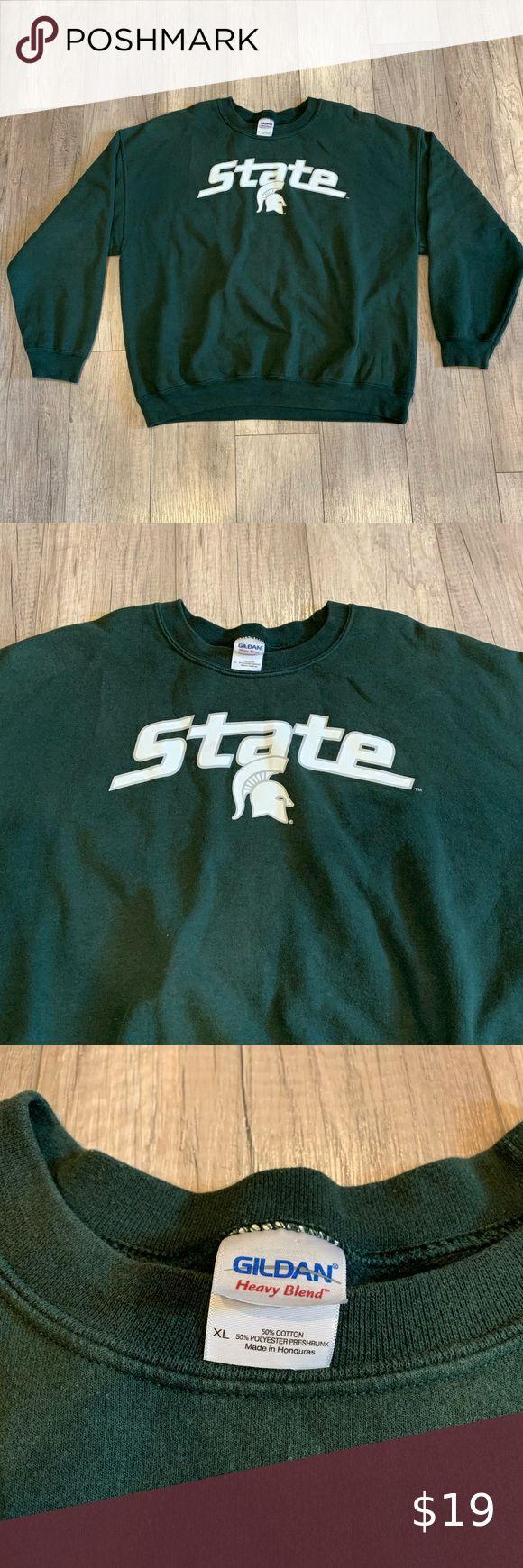 Michigan State Spartans Crewneck Sweatshirt Sweatshirts Long Sleeve Tshirt Men Crew Neck Sweatshirt [ 1740 x 580 Pixel ]