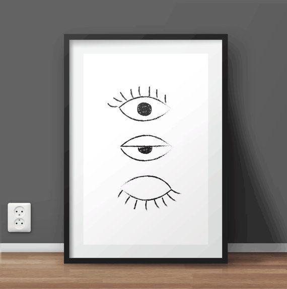 DESCRIPTION: Hand Drawn The Eye Printable Wall Art | - Large print