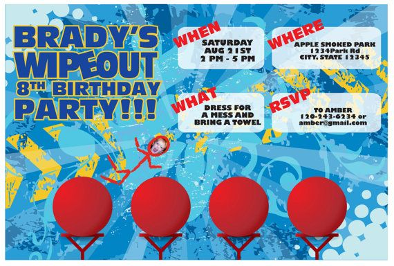 WIPEOUT Birthday Invite by M3AndCo on Etsy
