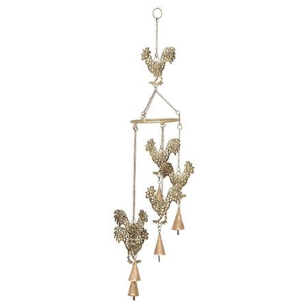 Add a whimsical touch to your veranda or sunroom with this charming wind chime, showcasing 6 gold-finished rooster silhouettes.   Pr...