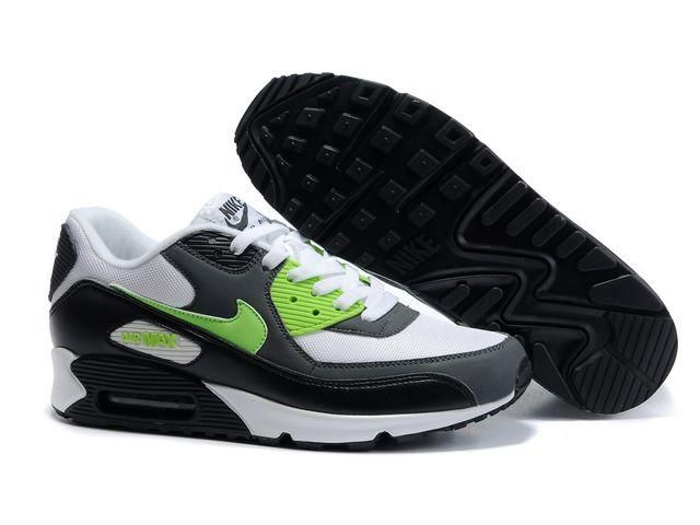https://www.kengriffeyshoes.com/nike-air-max-90-white-grey-black-green-p-813.html NIKE AIR MAX 90 WHITE GREY BLACK GREEN Only $71.40 , Free Shipping!