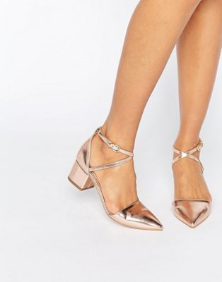 RAID Avia Rose Gold Point Mid Heeled Shoes