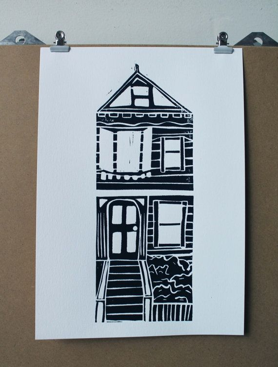 Superior Black And White Ink Town House Lino Print 6 By KateMorrisArt