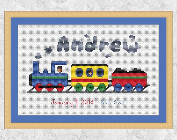 Birth sampler cross stitch pattern, custom cross stitch, personalized steam train chart, customised, baby christening, boy, girl, child, PDF by Climbing Goat Designs