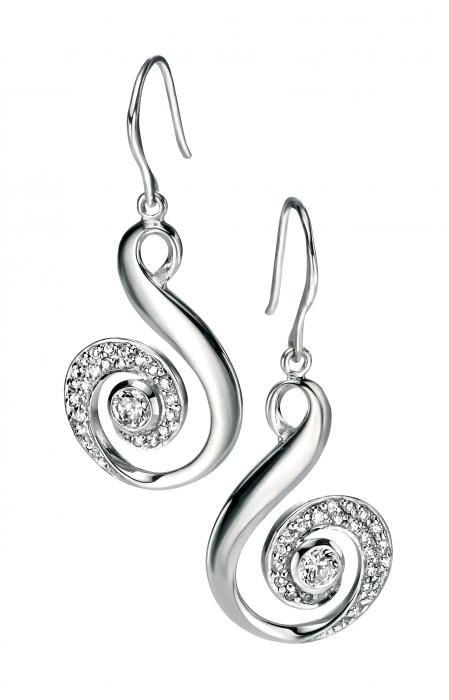 SILVER CUBIC ZIRCONIA SWIRL DROP EARRINGS - Attenborough Pawnbrokers & Jewellers #silver #gemset #earrings