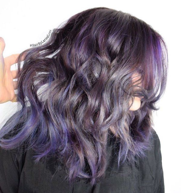 black hair with gray and purple highlights
