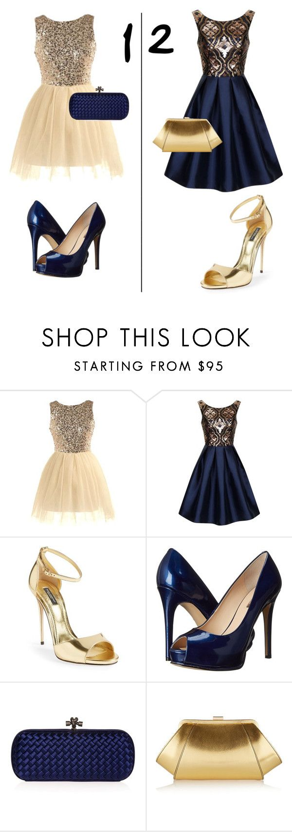 """Gold/blue evening dress preference"" by cheerleader7avag ❤ liked on Polyvore featuring Chi Chi, Dolce&Gabbana, GUESS, Bottega Veneta, ZAC Zac Posen and ava_grace_contests"