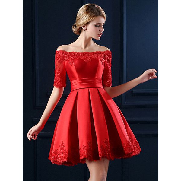 Choies Red Off Shoulder Lace Hem Half Sleeve Lacing Back Prom Skater... ($82) ❤ liked on Polyvore featuring dresses, red, lace up front dress, red lace dress, off the shoulder skater dress, prom dresses and red off shoulder dress