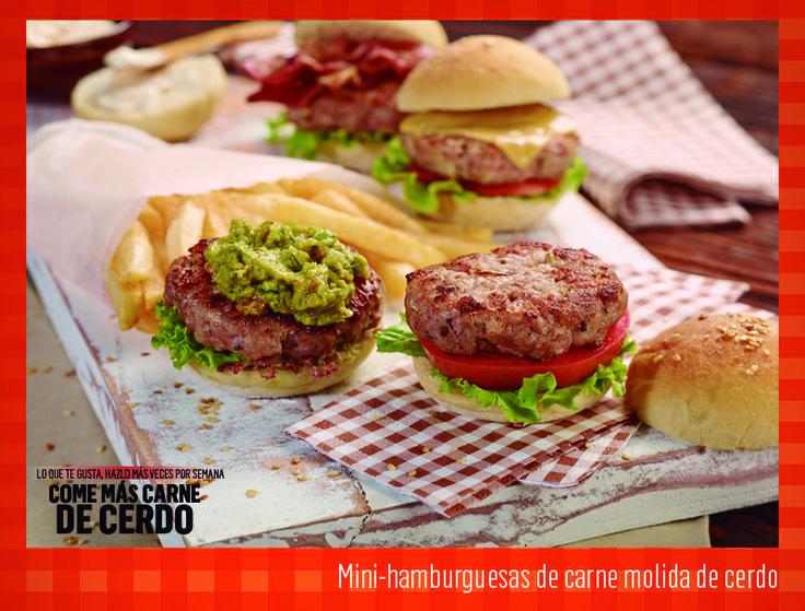 Mini-hamburguesas de carne molida de cerdo. Tomado de: www.meencantalacarnedecerdo.com