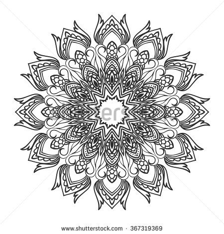 Beautiful Vector Mandala Black Drawing Isolated On White Design For Coloring Book Page
