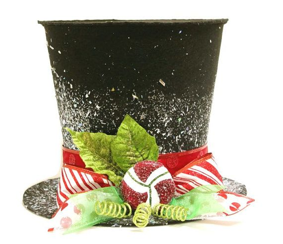 Black Candy cane top hat, Christmas tree topper, Christmas table decoration