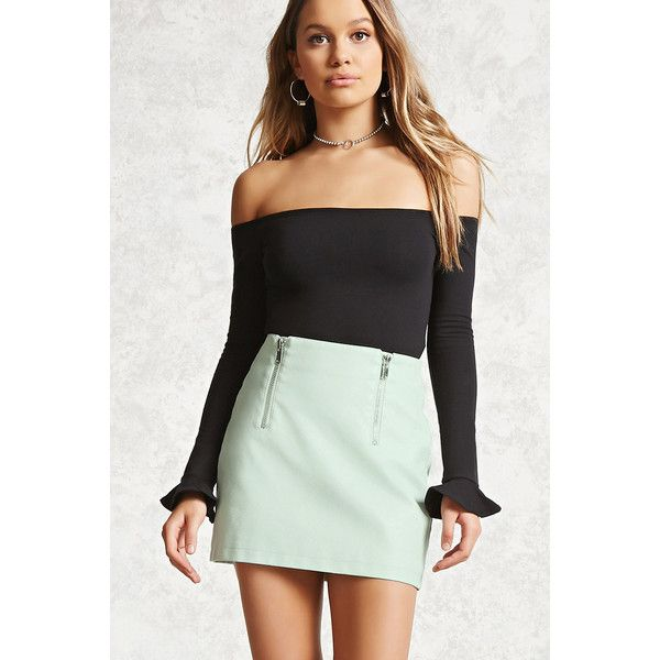 Forever21 Faux Leather Zip-Front Skirt ($16) ❤ liked on Polyvore featuring skirts, mini skirts, mint, front zip skirt, short skirts, front zipper skirt, forever 21 skirts and faux leather skirts