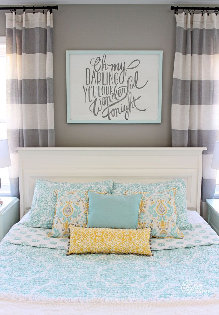 Featured at #CreateItThursday: Join in for my Master Bedroom Reveal. Bright colors, fresh design. A pretty modern twist on farmhouse decor.