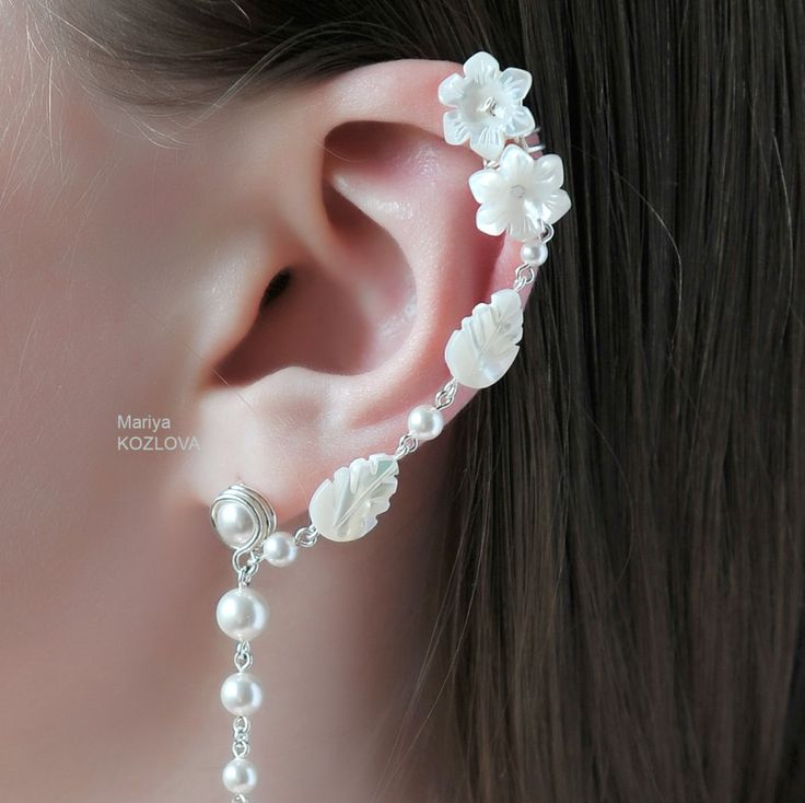 """Ear cuff earring for a left ear - """"Elegant Fairy"""" - with sky blue topaz, pearls, carved mother of pearl plus stud for other ear. by LotEarCuffs on Etsy"""