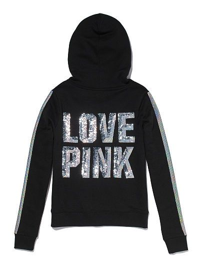 Bling Perfect Zip Hoodie PINK  JS-306-055 BLACK-(4AW) AQUA-(5C9) GREY-(Q20) Best. Fit. Ever. It's the Bling Perfect Zip Hoodie: super comfy, perfect length, easy everyday style. Extra-glam with sparkly graphics, these sweats are pure lounge perfection. Must-have sweats by Victoria's Secret PINK. In our signature fleece Drawstring hood Side pockets Imported cotton/polyester