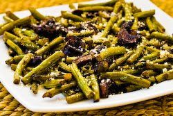 Recipe for Roasted Green Beans with Mushrooms, Balsamic, and  Parmesan [from KalynsKitchen.com]