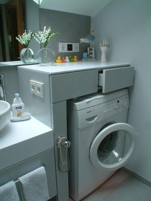 Kleines Badezimmer mit Waschmaschine (Foto 2/40) Designmag – #Badezimmer #Designmag #Foto #Kleines #Mit