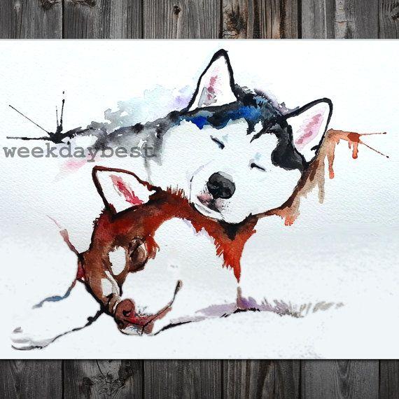 8x10 Siberian HUSKIES Husky  Print of Original by WeekdayBest, $20.00
