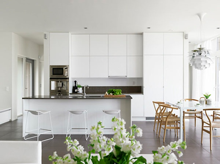 while I love the traditional white farmhouse kitchen, something about a white, modern, minimalist look-- like this picture-- is really peaceful, too