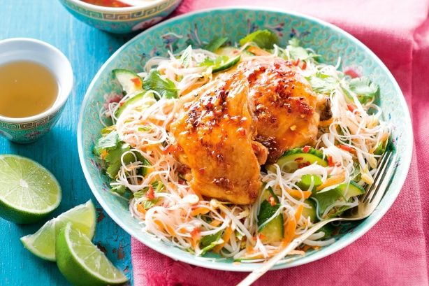 Nuoc cham chicken with noodle salad - the dressing and marinade to die for
