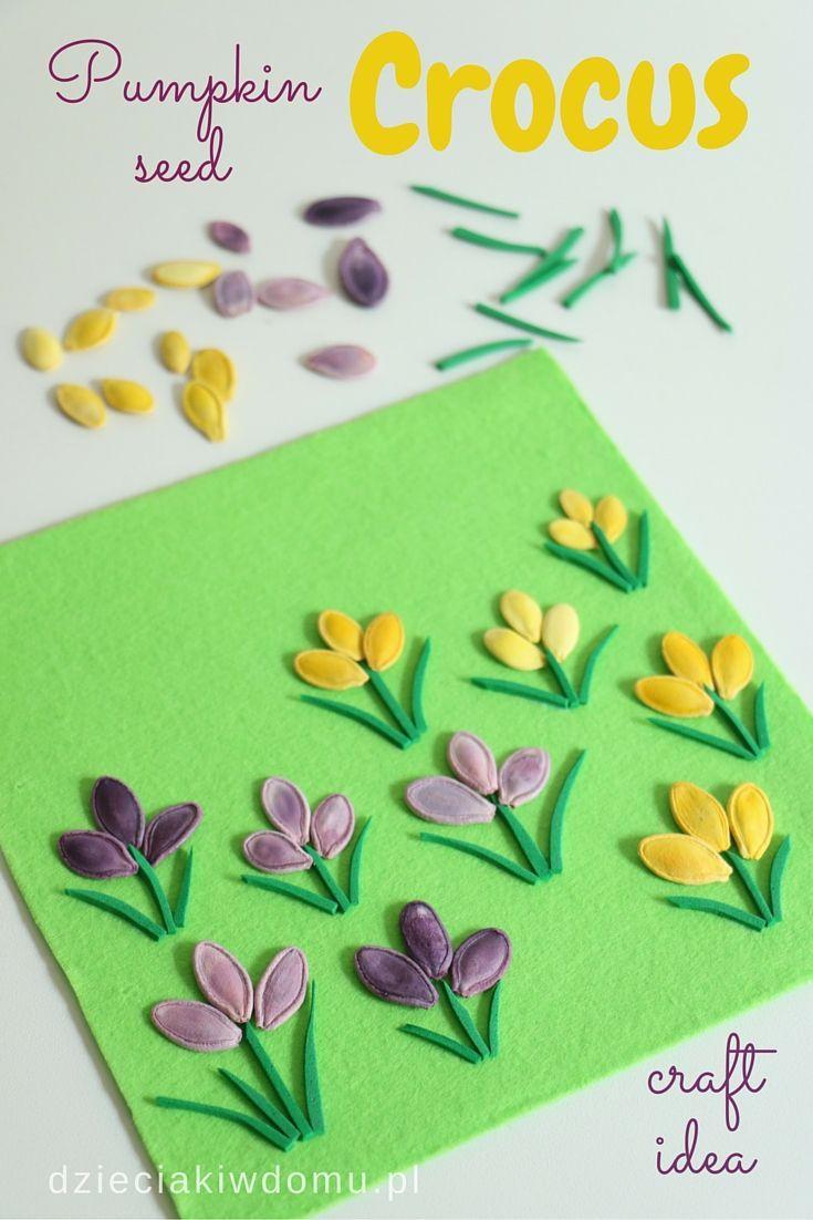 Pumpkin Seed Crocus Craft Idea For Kids Spring Crafts For Kids Seed Craft Spring Crafts