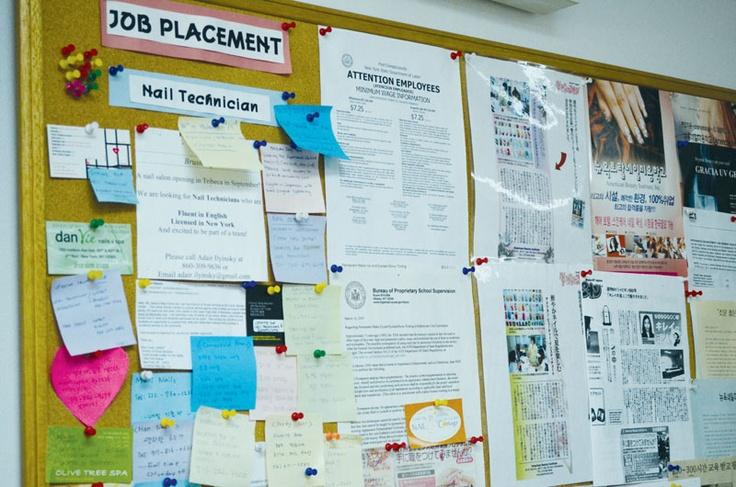 学校の掲示板には仕事に関する情報もたくさん載せられています。ABIの詳しい情報はこちらから! http://www.ilisny.com/abi