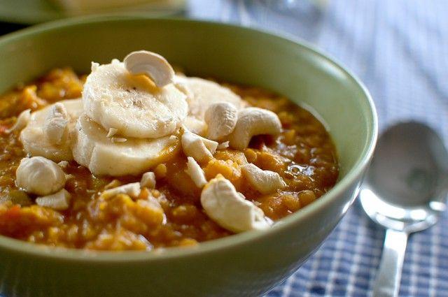 Billig vardagsmat, linsgryta med curry och banan
