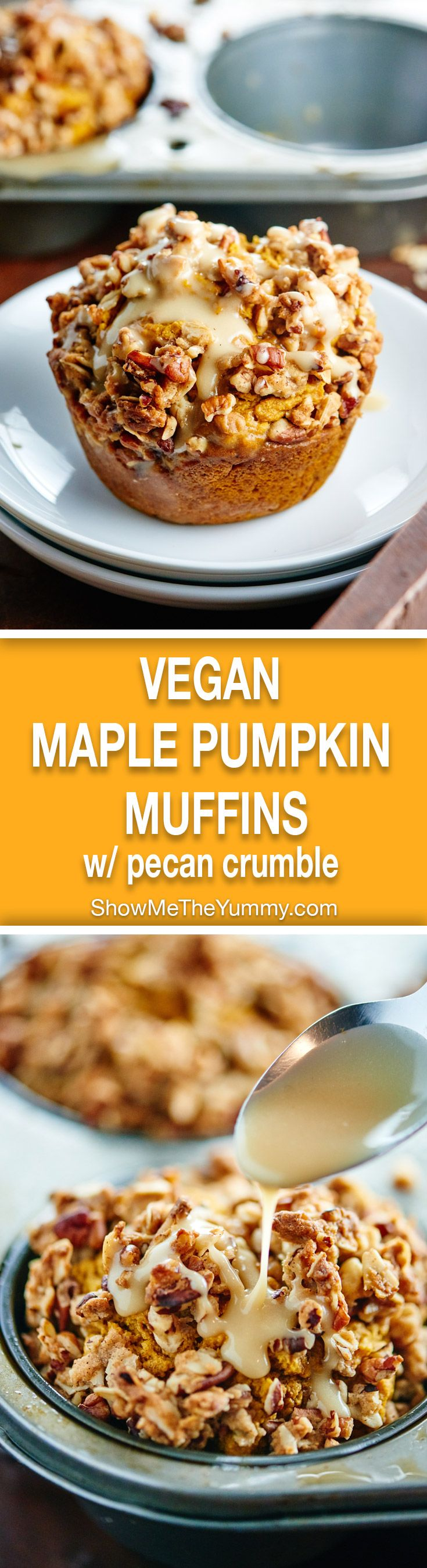 These healthy vegan pumpkin muffins are made w/ whole wheat flour & are naturally sweetened w/ maple syrup! They're topped w/ pecan streusel & maple glaze! showmetheyummy.com #pumpkin #vegan