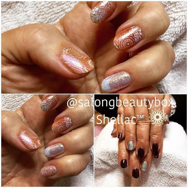 Härliga naglar med CND Shellac™ glitter och stamping. #salongbeautybox #cndshellac #cnd™ #nailart #glitternails #stamping #dixieplates #bokadirekt #södermalm
