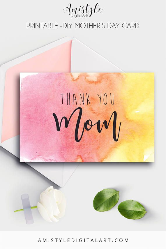 Mother's Day Card Thank You Mom Printable Card Mothers