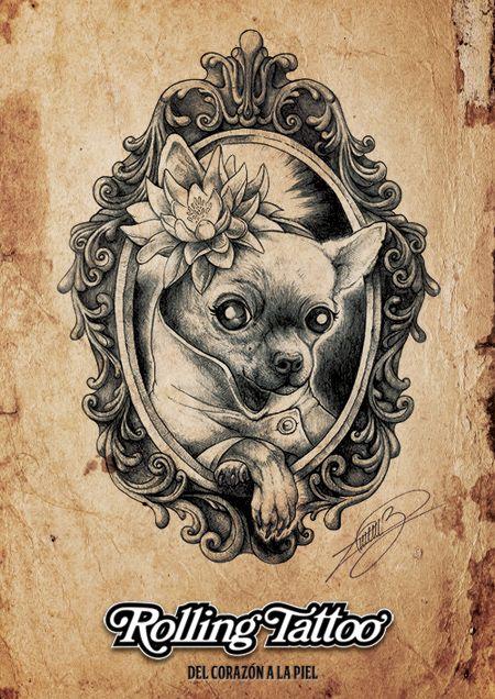 """Aquí os presentamos a """"Lolita"""", un retrato diferente y lejos del estilo habitual que caracteriza nuestras ilustraciones. No hay nada más motivador que sorprender a nuestros clientes y ofrecerles la posibilidad de trasladar lo que imaginen... ¡Del Corazón a la Piel!   Ilustración realizada por Javier Jiménez.   Todos los Derechos Reservados.   All Rights Reserved.   #Illustration #Chihuahua #Dog #Portrait #Drawing."""