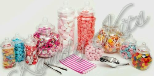 Plastic Sweet Jars Tongs Scoops & Bags Candy Buffet Bar Kit Large Jar Kit in Home, Furniture & DIY | eBay