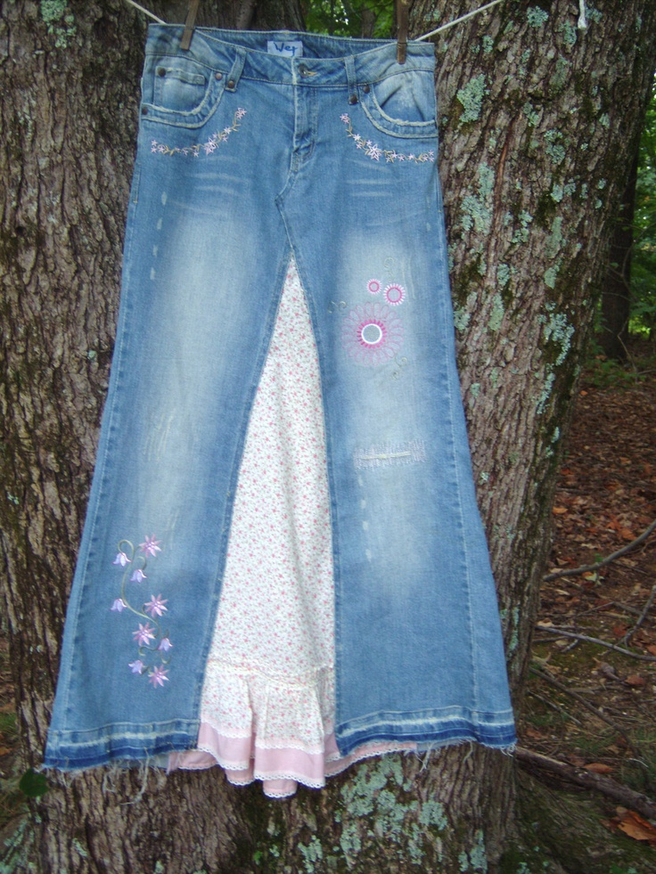 Embroidered Blue Jean Skirt With Pink And White Flowers Upcycle OOAK Altered Couture