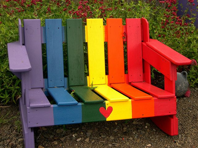 Rainbow love bench, yachats oregon by Photos by Mavis.