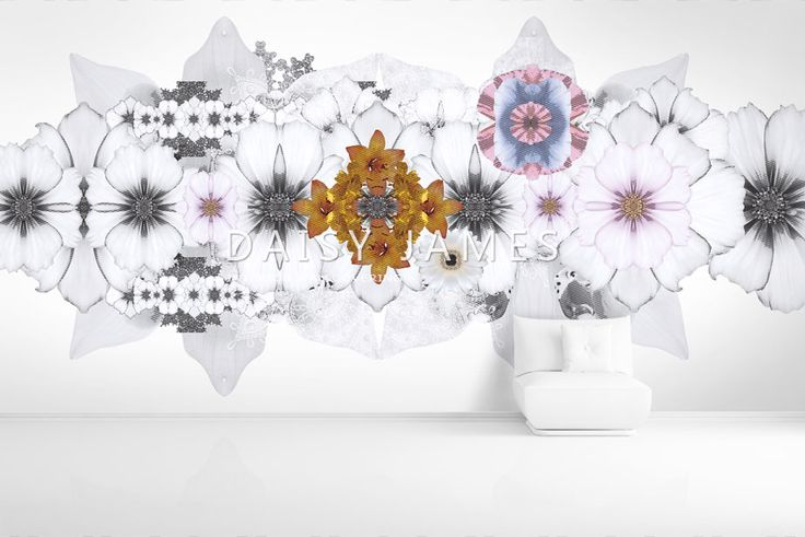 "DAISY JAMES Wallcovering ""The White Flower"" #interiordesign #Luxuryhouses #officedesign"