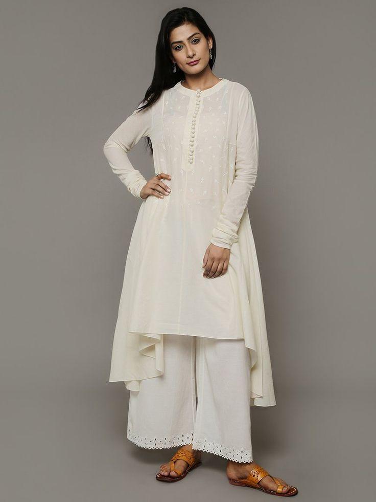 Off White Cotton Hand Embroidered Asymmetric Kurta with Slip - Set of 2