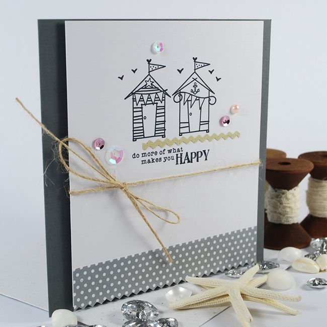 'Beach Cottage' Image Stamps. With a Dotty Paper from 'Isabelline' Pattern Paper Pack.