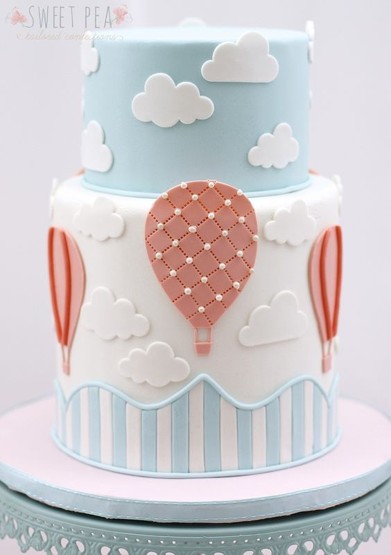 baby shower torta de globos aerostáticos