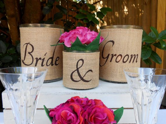 Burlap Candle Holder Or Vase Set For The Bride U0026 Groomu0027s Table