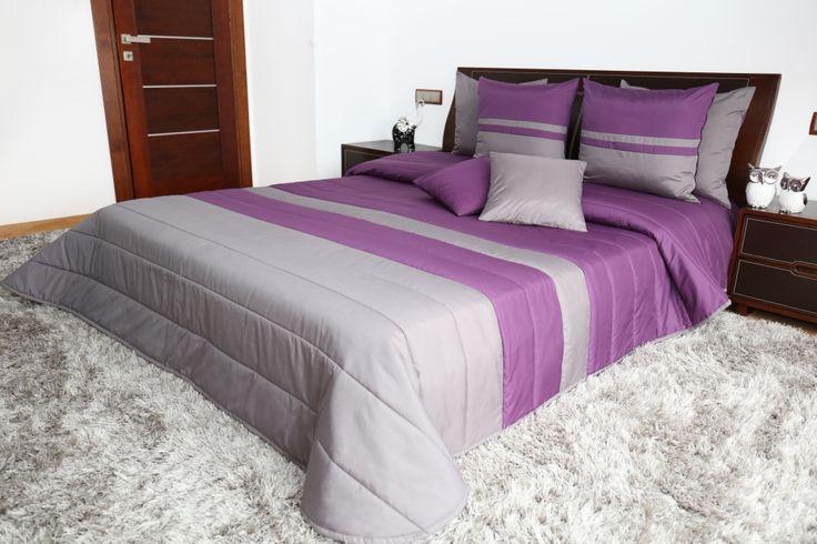 Moderné fialové prehozy na posteľ