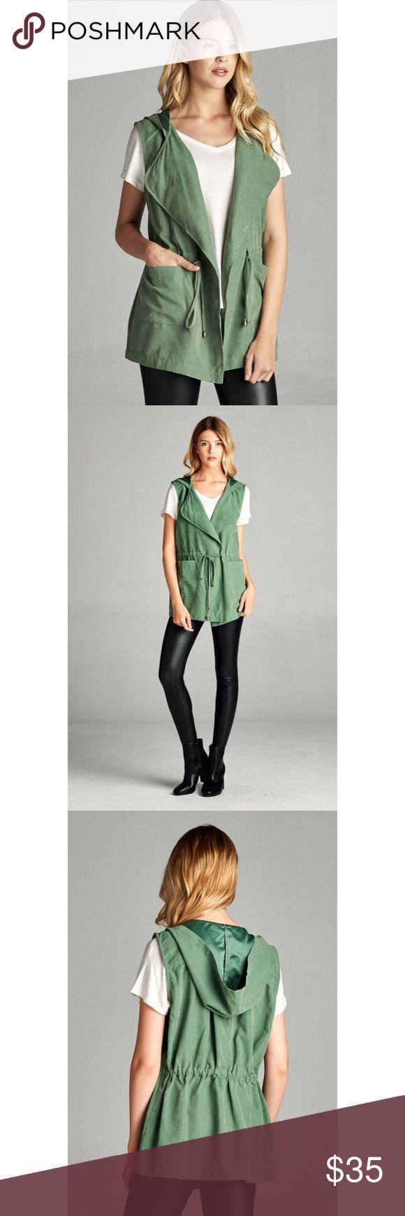 Coming soon! Green drawstring waist hooded vest Green ✖️ hooded ✖️ drawstring waist ✖️vest Tops