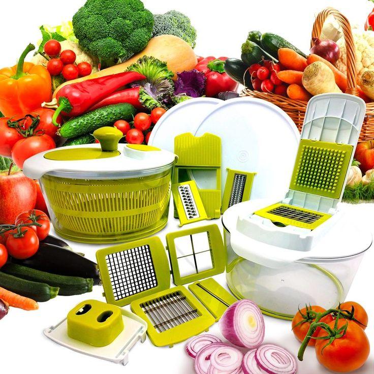 10in1 Multi-Use Salad Spinning Slicer Dicer & Chopper Kitchen Food Storage Lids #MEGACHEF